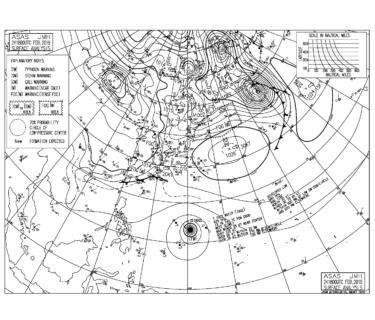 高気圧からの南東うねり&沿岸部は南西の風、一宮や千倉が良さそう【2019.2.25】