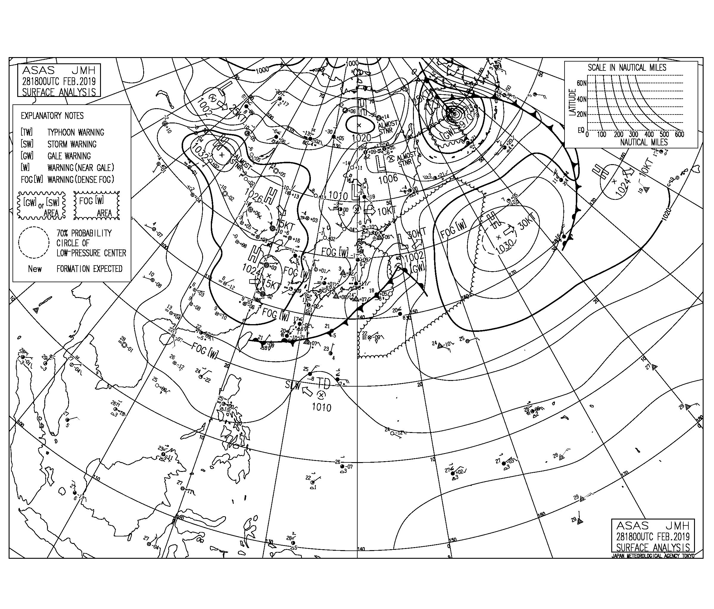 【2019.3.1】毎日の天気図と波情報
