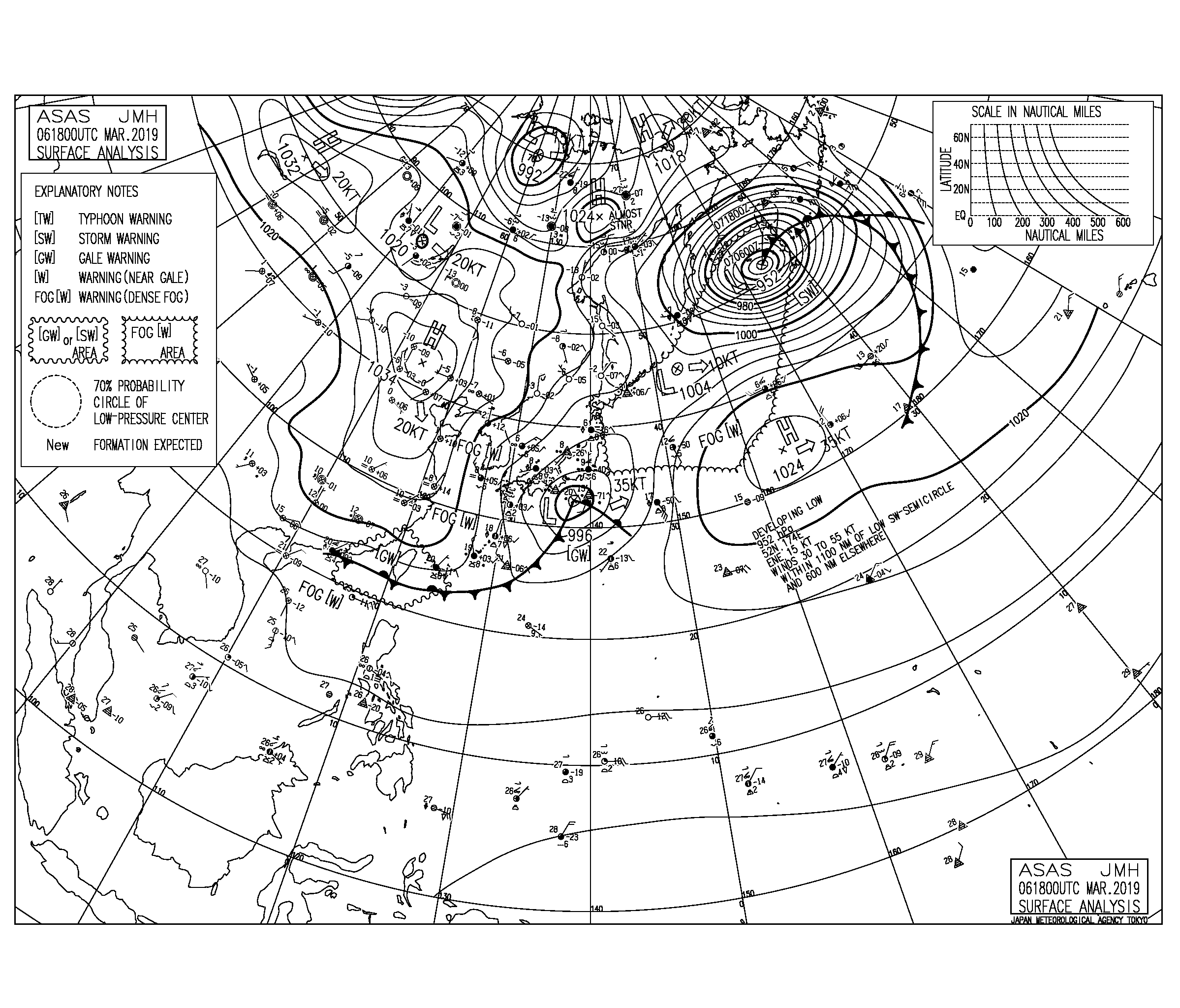 【2019.3.7】毎日の天気図と波情報