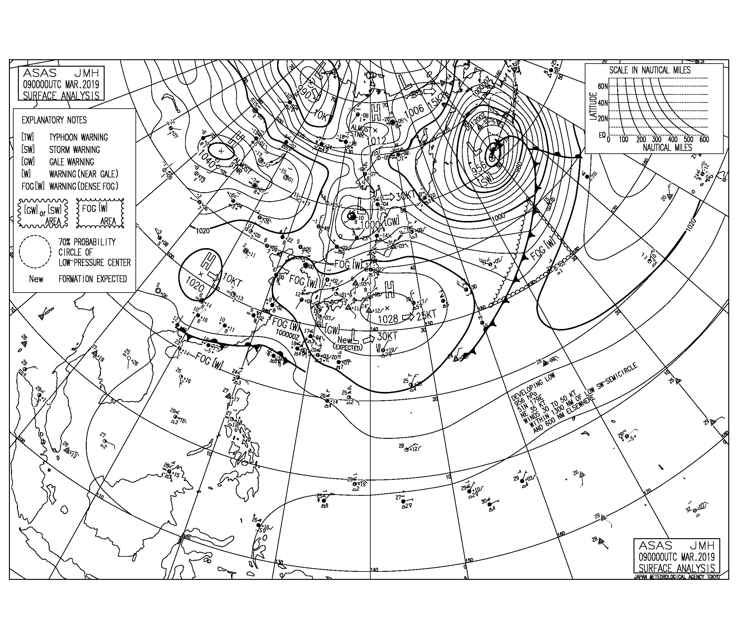 【2019.3.9】毎日の天気図と波情報