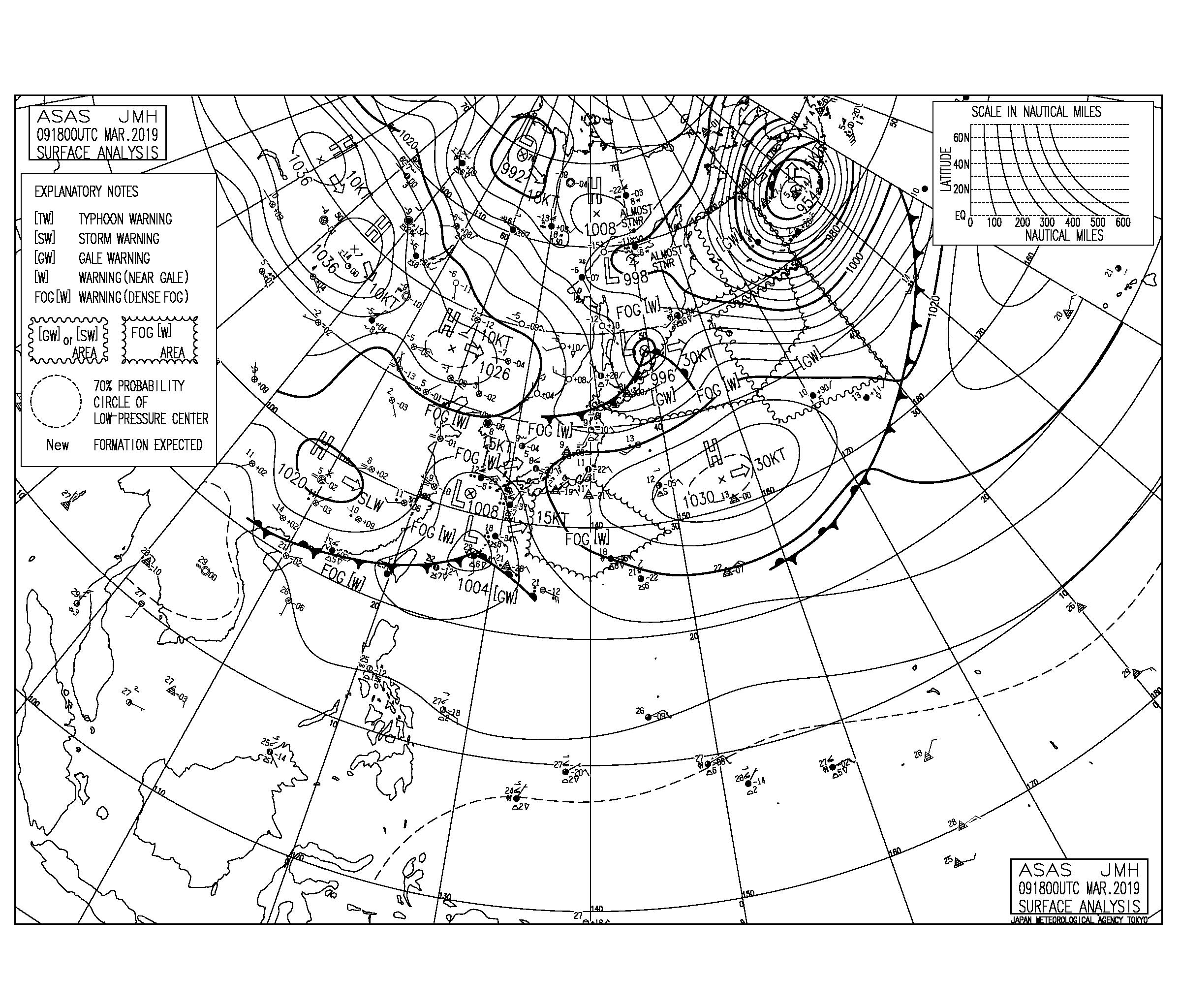 【2019.3.10】毎日の天気図と波情報