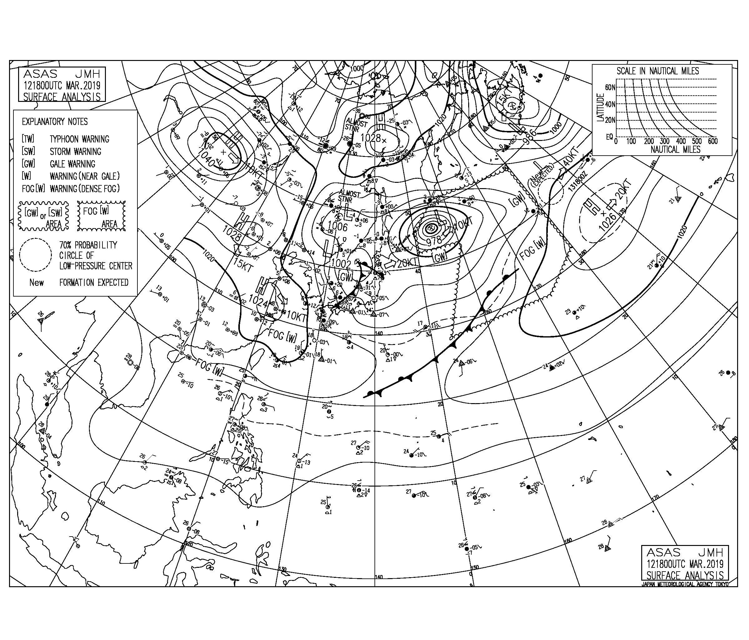 【2019.3.13】毎日の天気図と波情報