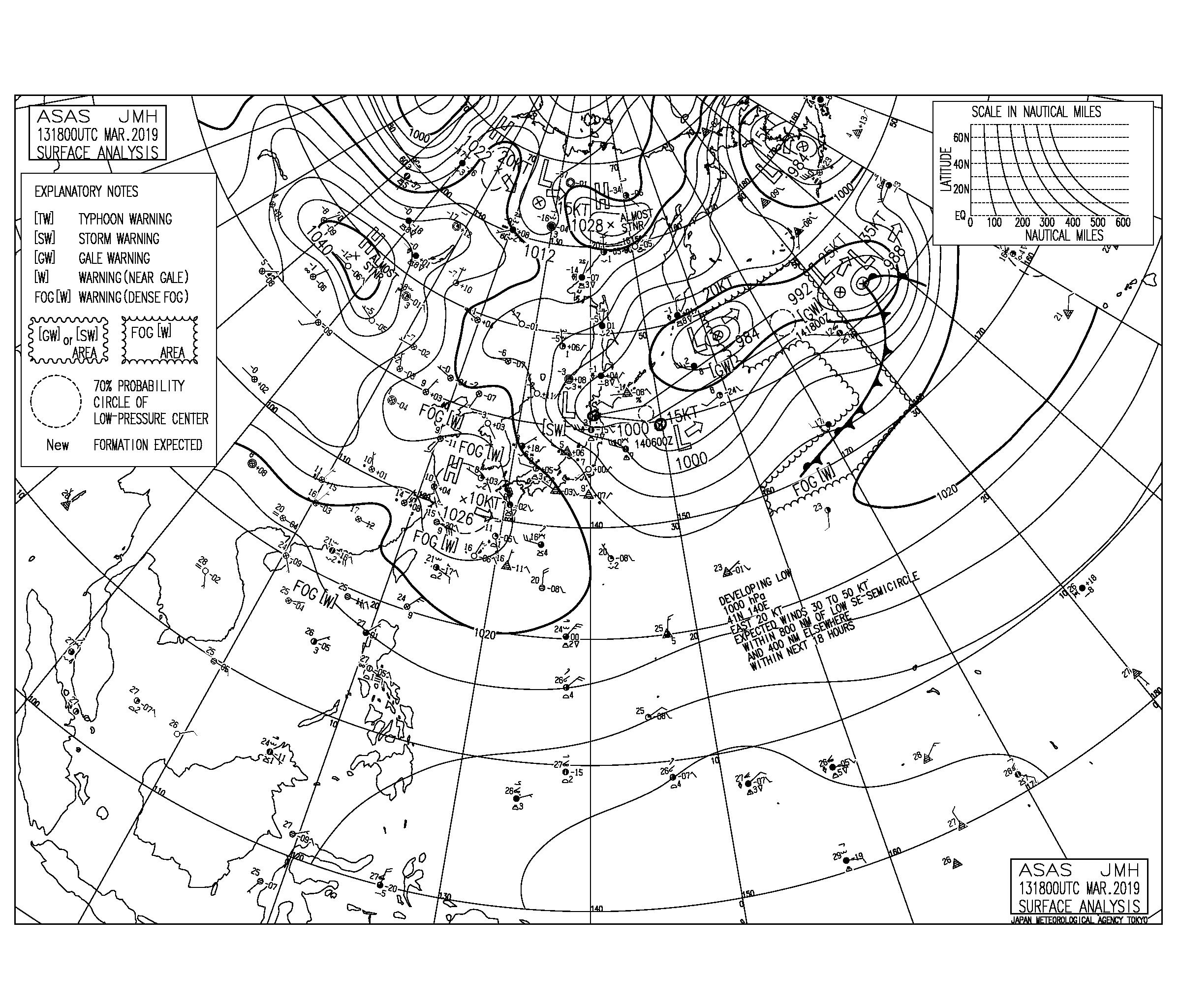 【2019.3.14】毎日の天気図と波情報