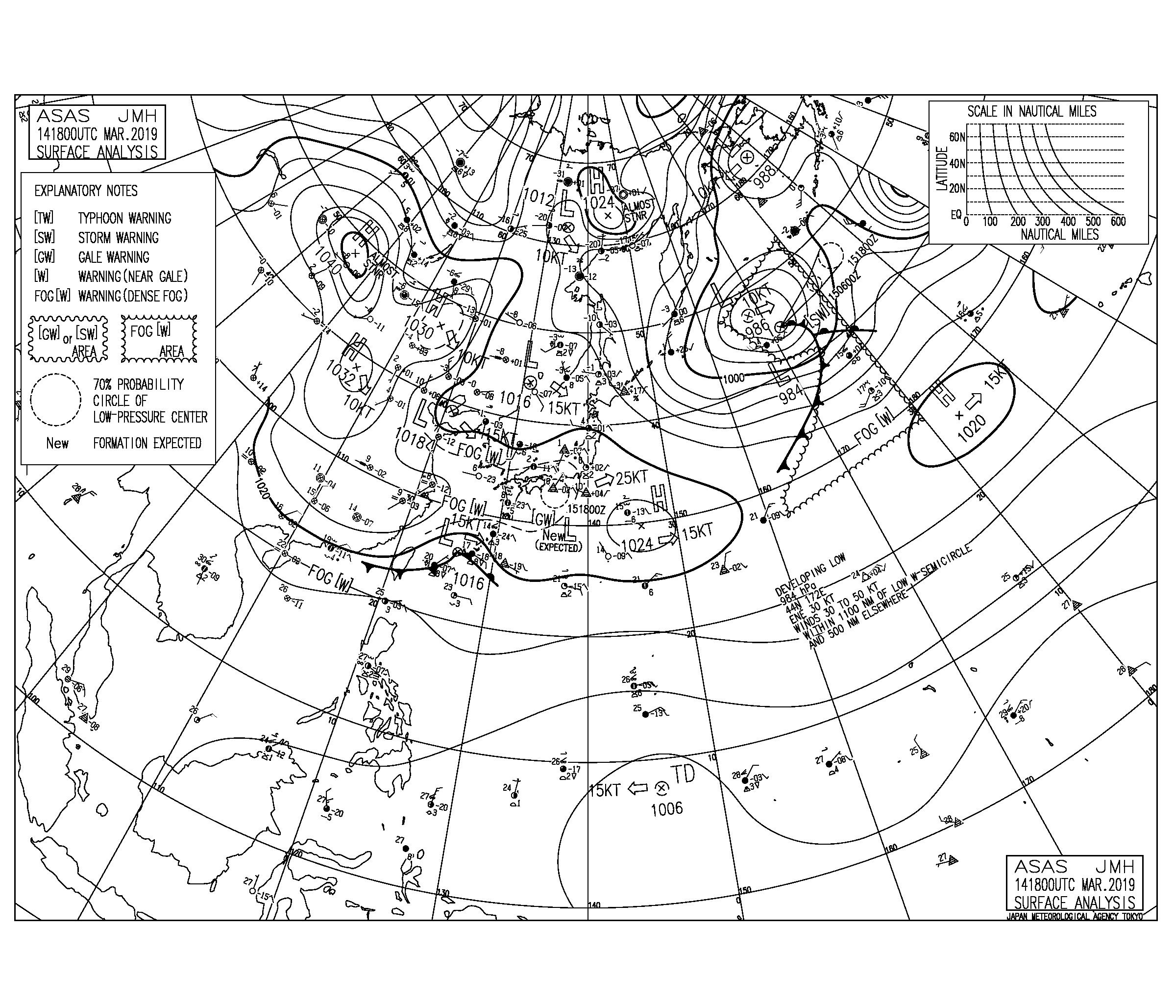 【2019.3.15】毎日の天気図と波情報