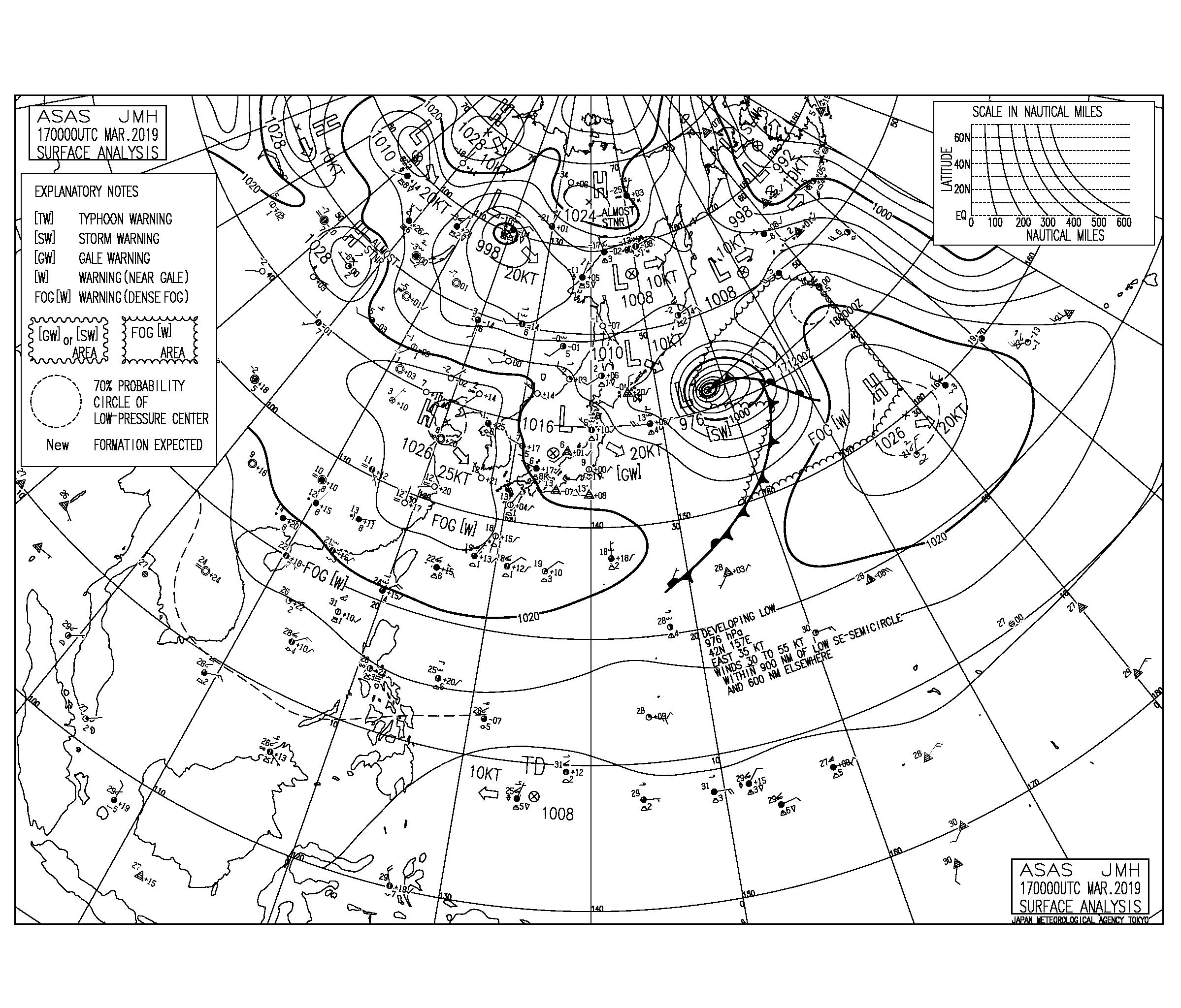 【2019.3.17】毎日の天気図と波情報