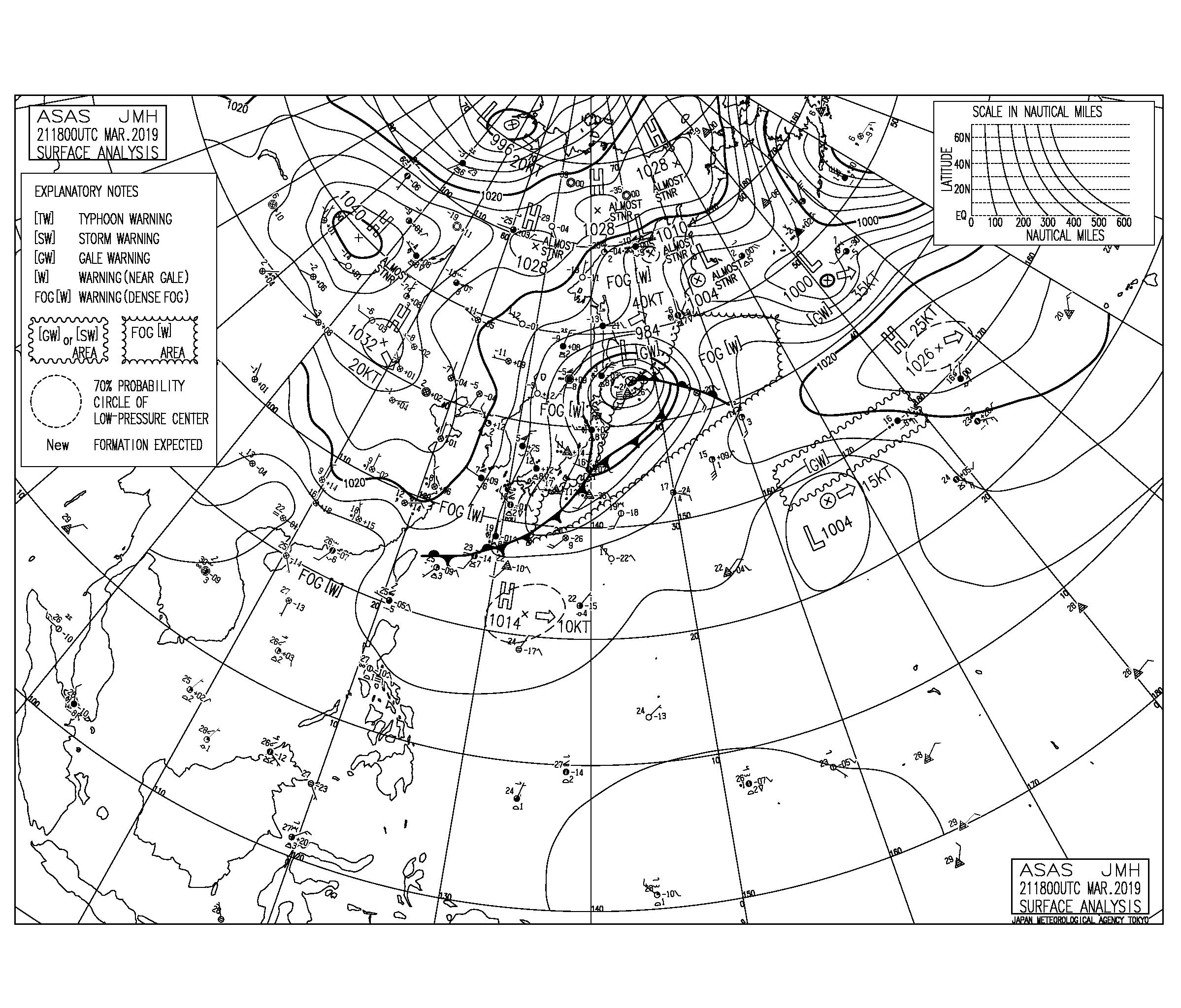 【2019.3.22】毎日の天気図と波情報