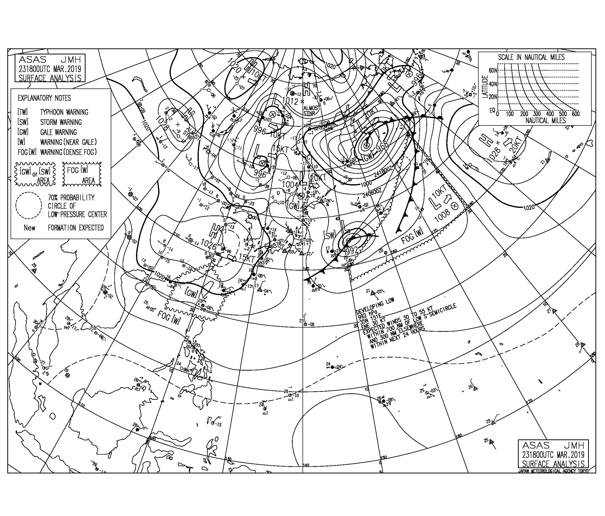 【2019.3.24】毎日の天気図と波情報