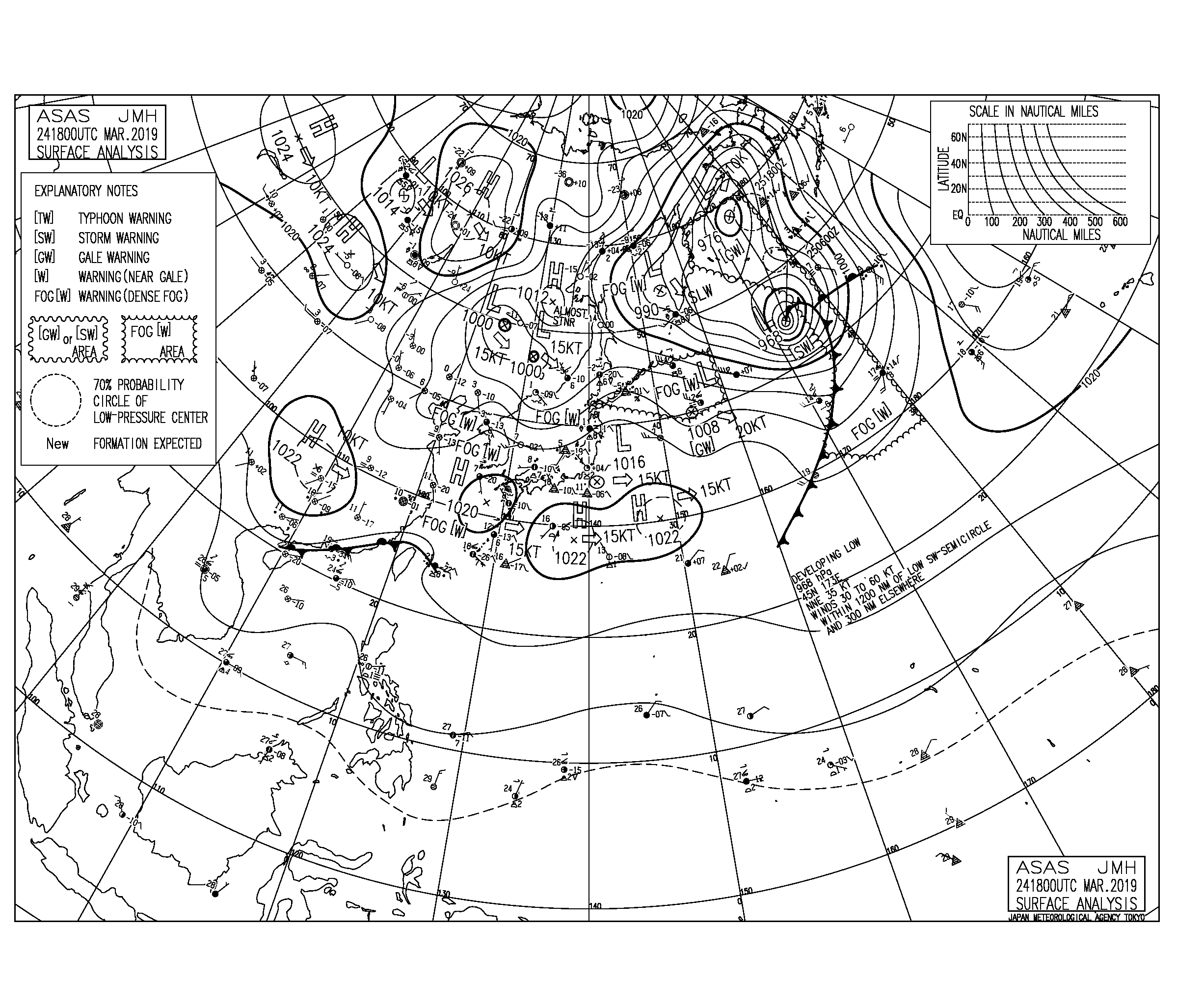 【2019.3.25】毎日の天気図と波情報