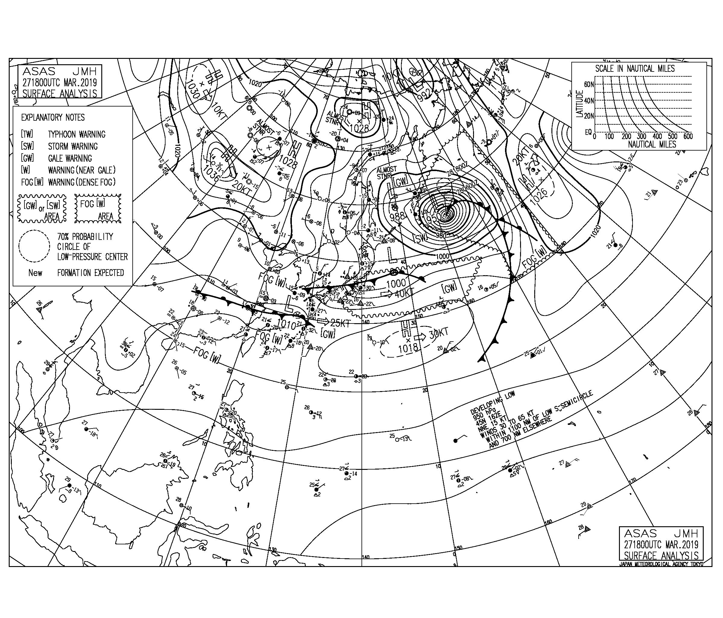 【2019.3.28】毎日の天気図と波情報
