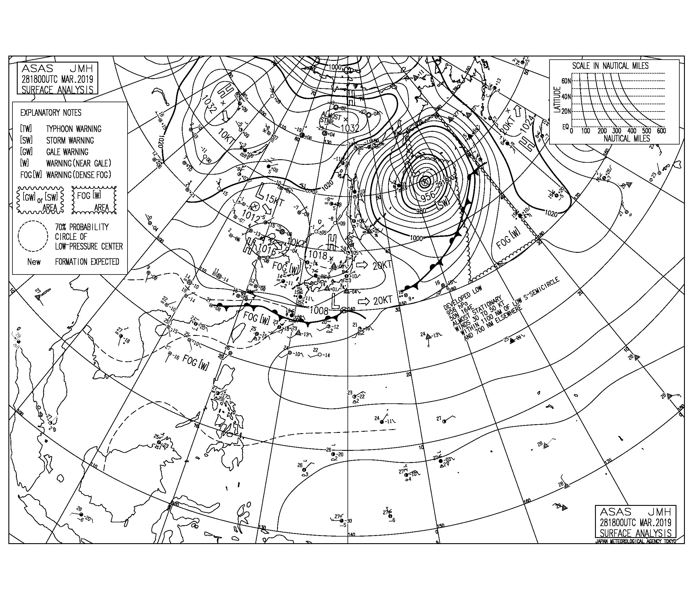 【2019.3.29】毎日の天気図と波情報