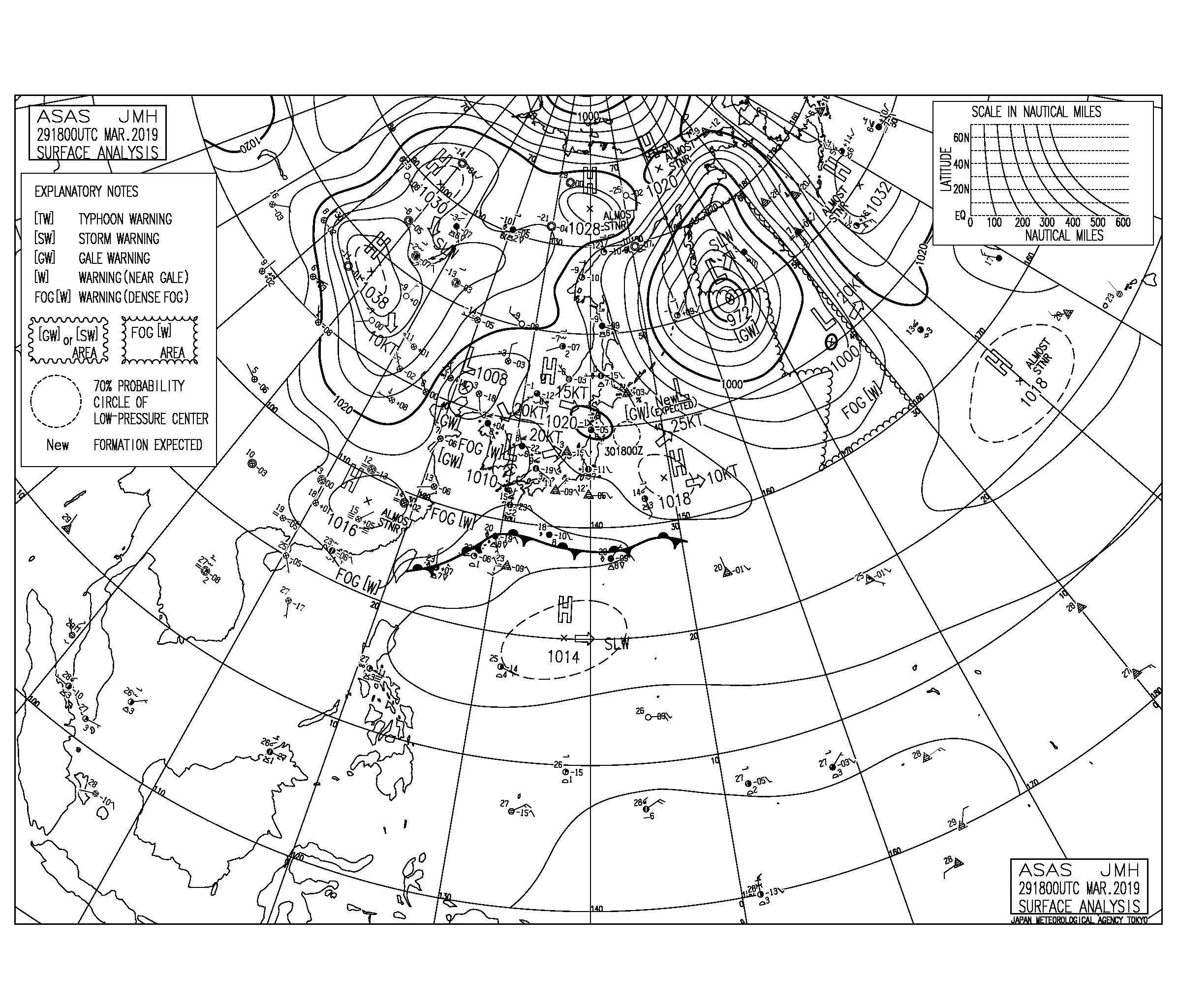 【2019.3.30】毎日の天気図と波情報