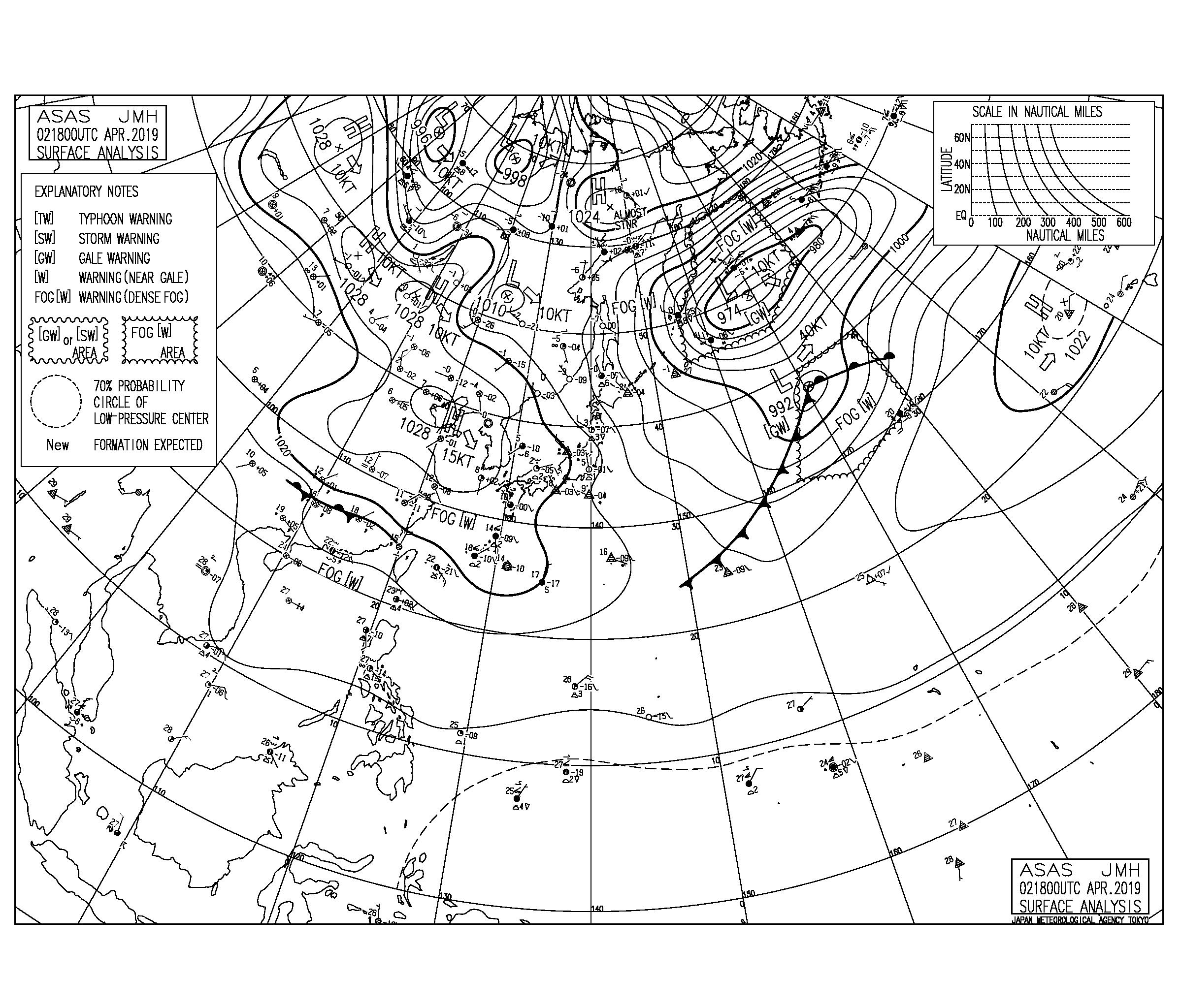 【2019.4.3】毎日の天気図と波情報
