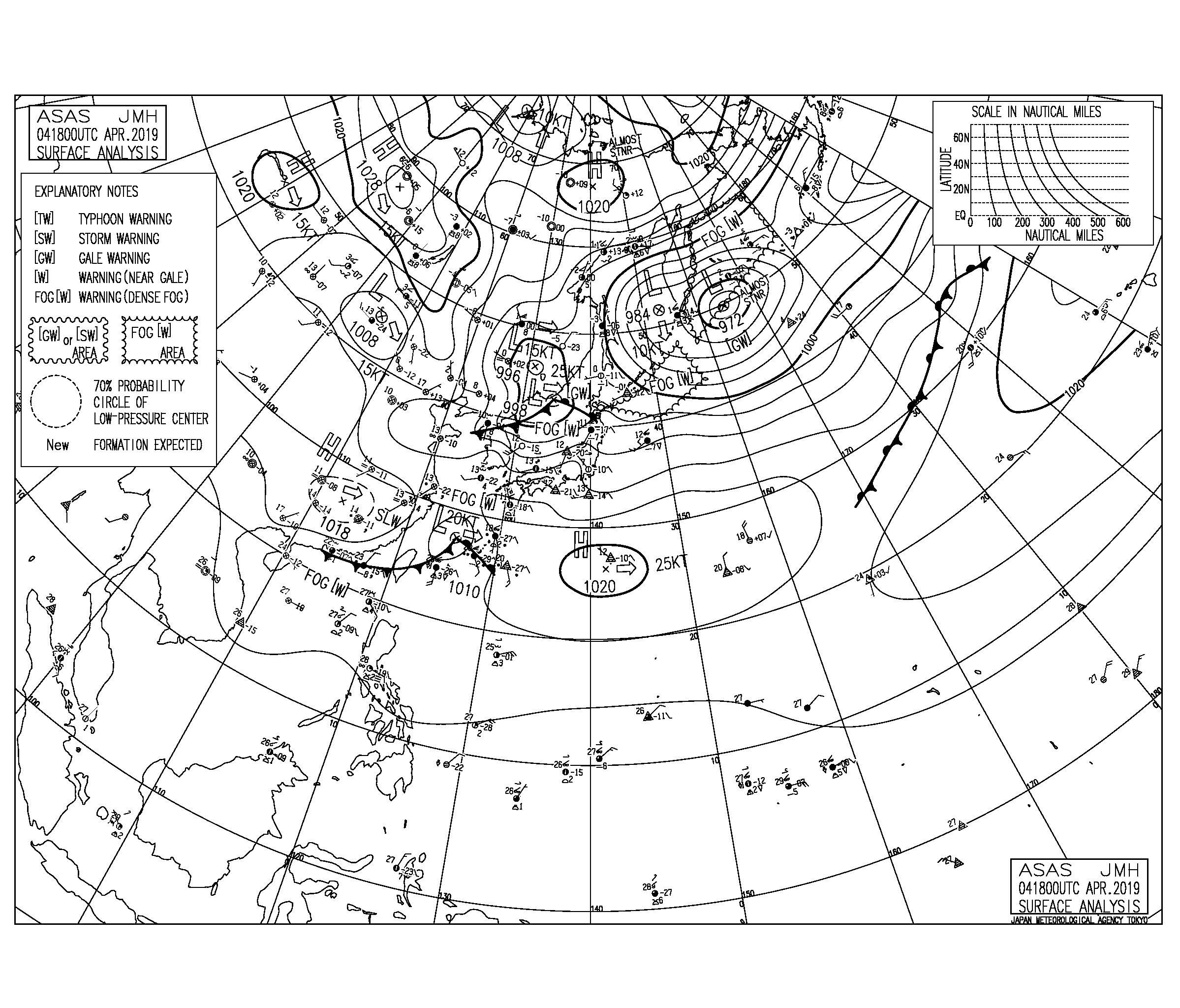 今日も南高北低の気圧配置、日本海の低気圧にむけて南西の風が強まる【2019.4.5】