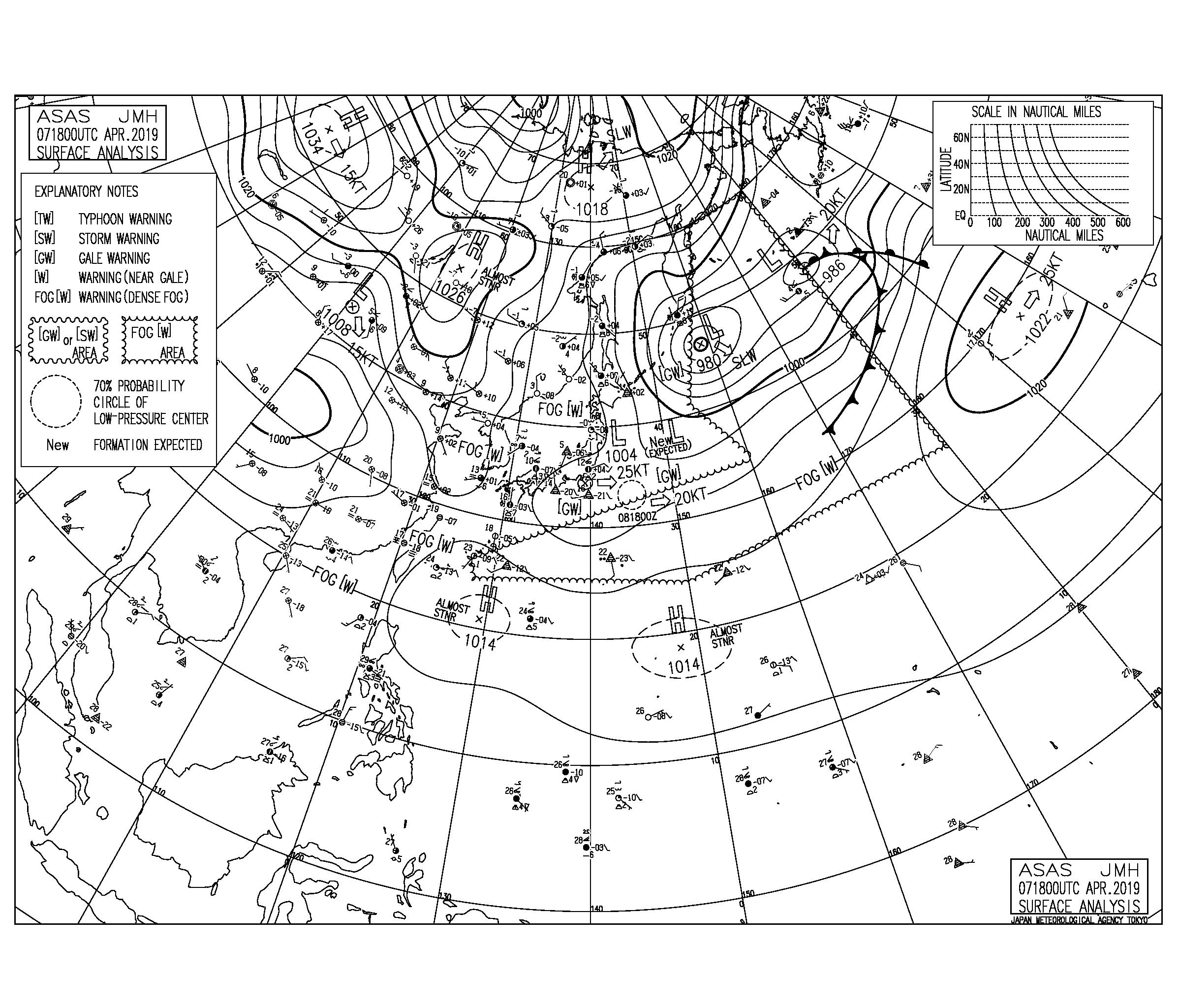 【2019.4.8】毎日の天気図と波情報