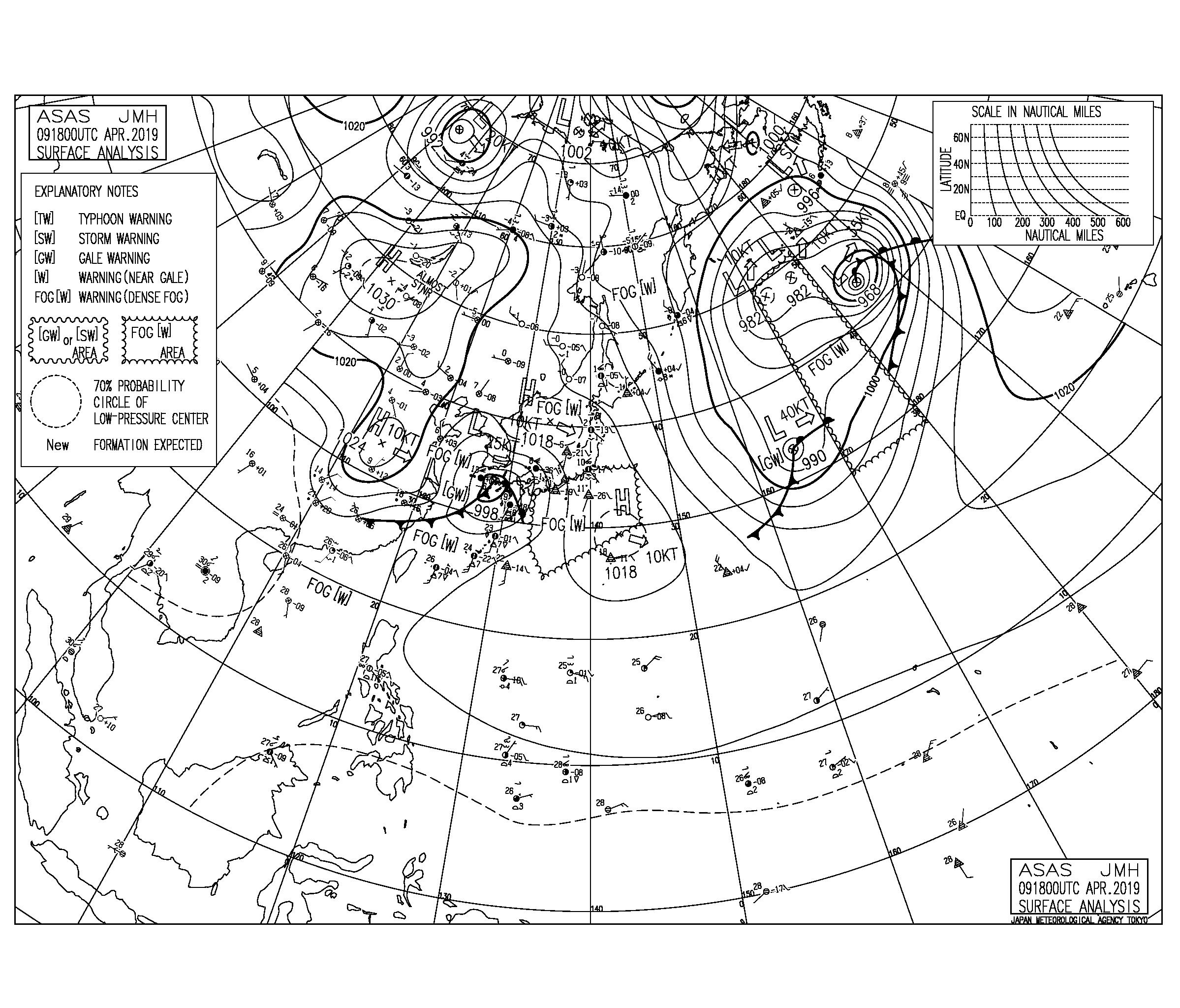 【2019.4.10】毎日の天気図と波情報