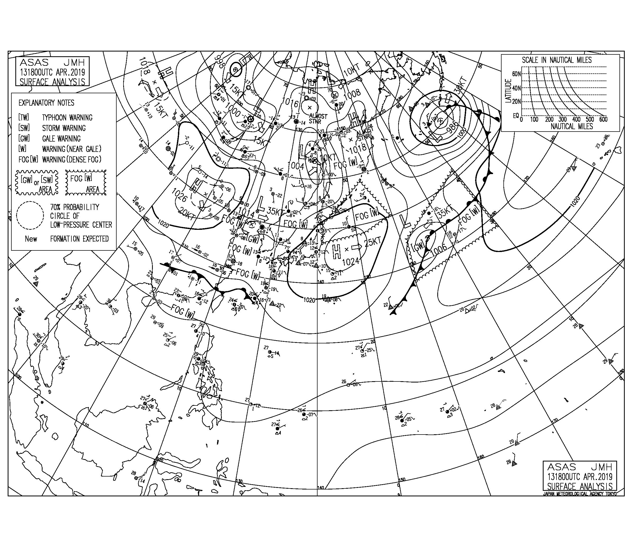【2019.4.14】毎日の天気図と波情報