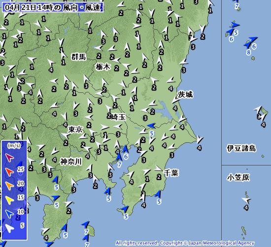 高気圧が日本海へ進み北東から東の風が入りやすい【2019.4.21】22時更新