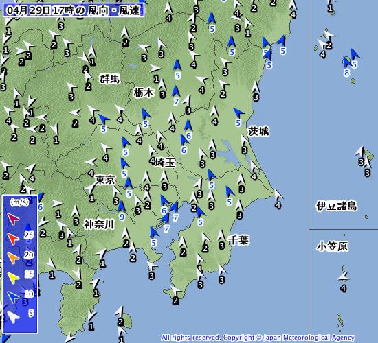 退位の日は南東〜南南東の風が強くまとまった雨へ【2019.4.29-30】