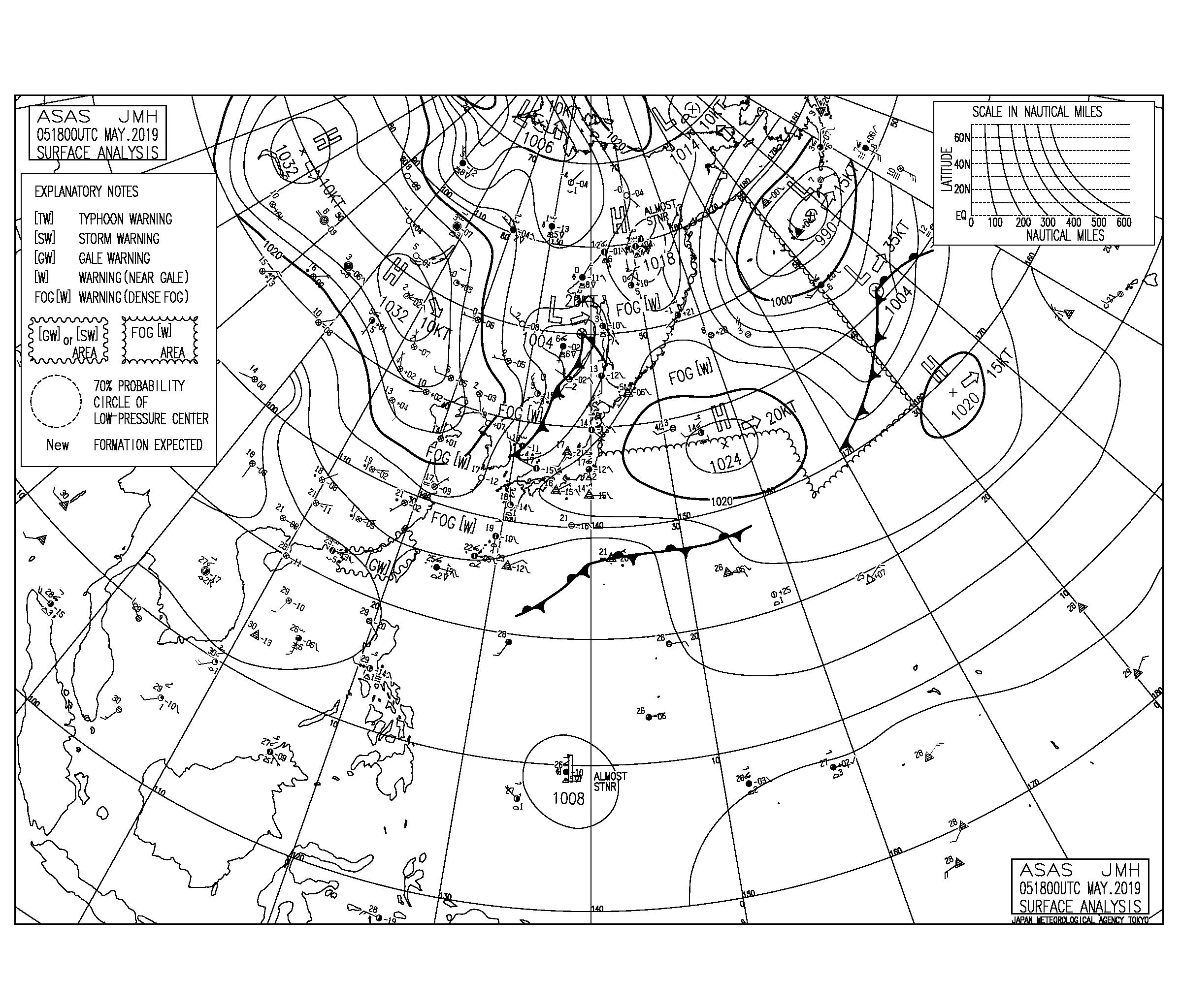 【2019.5.6】低気圧に向けての暖湿流で大気の状態が非常に不安定、午後は落雷に要注意