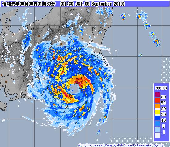 台風レーダー画像