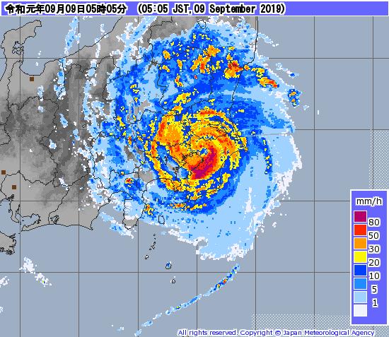 台風15号レーダー画像