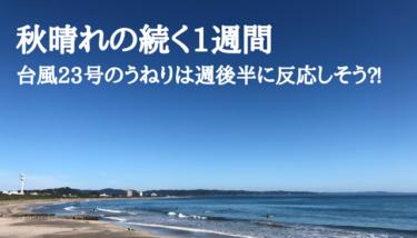 秋晴れが続く1週間、台風23号のうねりは週後半に反応しそう⁈【2019.11.4】