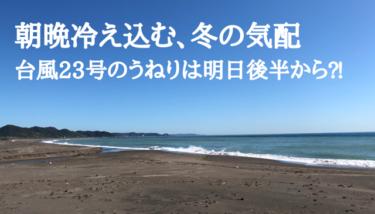 朝晩は冷え込み最低気温は一桁台、台風23号のうねりは明日後半から⁈【2019.11.5】