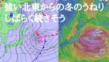 明日からしばらく強い北東からの冬のうねりが続きそう、年末年始の風と波は?【2019.12.26】