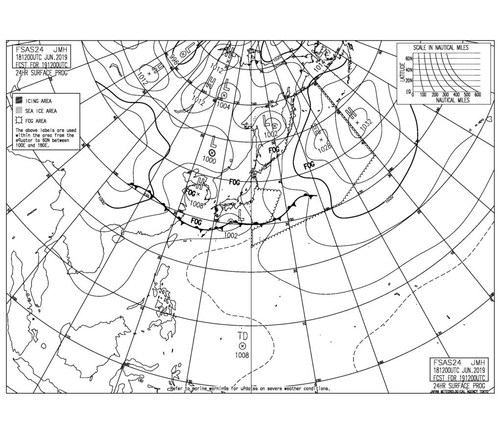 梅雨波なしパターン天気図