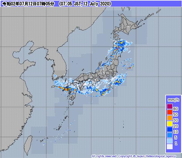 梅雨前線のレーダー画像