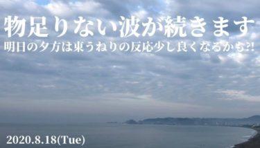 千葉は雲の多い空模様で物足りない波が継続、明日は東うねりの反応に期待【2020.8.18】