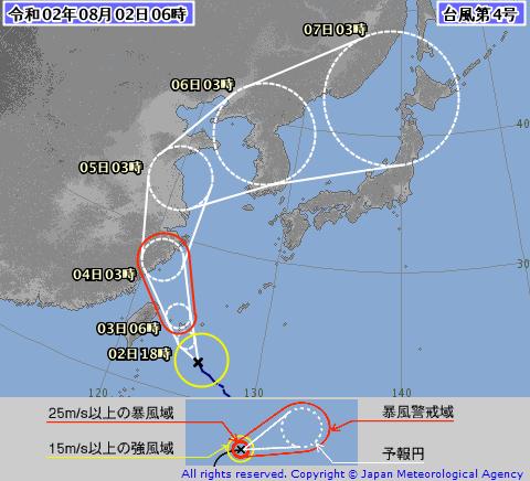台風4号進路図