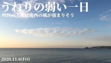 千葉と湘南はうねりの弱い一日、土曜は南西の風が強まりそう【2020.11.6】
