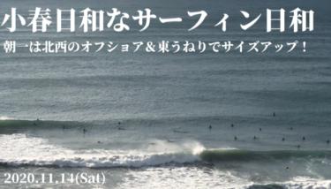 小春日和なサーフィン日和、千葉のあさイチは東うねりサイズアップしたいい波!【2020.11.14】