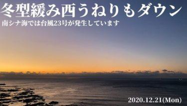 冬型が緩み西うねりもサイズダウン、南シナ海では台風23号が発生【2020.12.21】