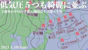 千島近海で低気圧が横に5つも綺麗に並ぶ珍しい気圧配置【2021.1.10】
