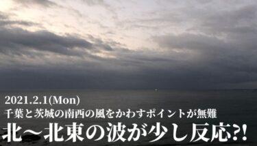 北~北東の波が一部で反応⁈ 千葉と茨城の南西の風をかわすポイントが無難【2021.2.1】