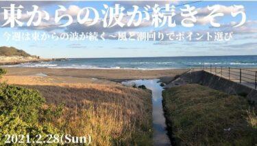 東からの波が続きそうな1週間~風と潮回りでポイント選び【2021.2.28】