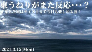 千葉と茨城はサイズ十分で今日も楽しめる波!東うねりがまた反応・・・?【2021.3.15】