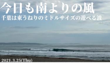 今日も南風〜東うねりでミドルサイズの遊べる波が続きます【2021.3.25】