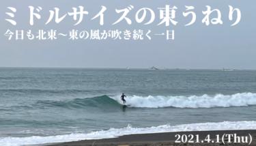 ミドルサイズの東うねり、今日も北東〜東の風【2021.4.1】