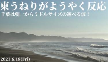 東うねりがようやく反応してきた!朝一からミドルサイズの遊べる波【2021.6.18】