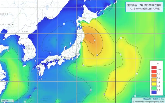 沿岸波浪予想図0728