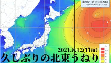 元台風9号からの久しぶりの北東うねり、気圧配置は梅雨の末期?【2021.8.12】