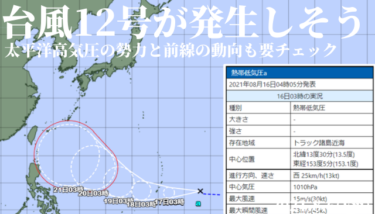 はるか南海上で台風12号が発生しそう、太平洋高気圧の勢力と前線の動向も要チェックな1週間【2021.8.16】