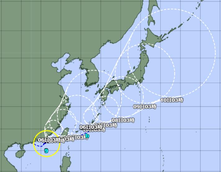 台風予想進路図_210805