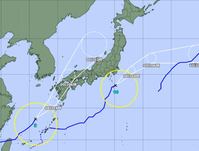 台風予想進路図_210808