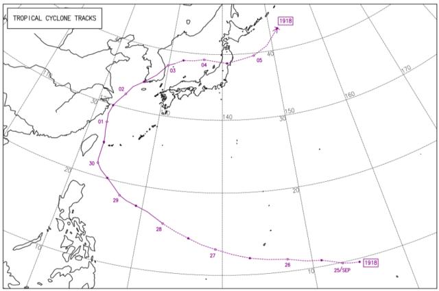 2019年台風18号_経路図