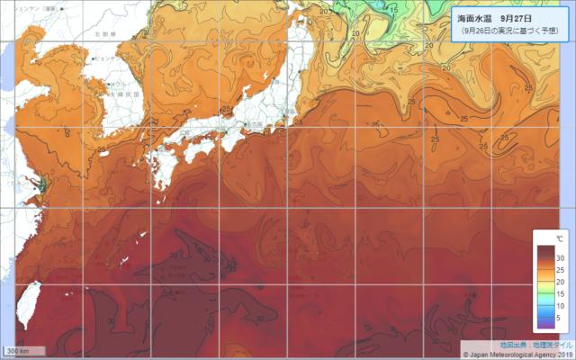 台風16号の海面水温